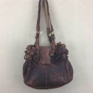 Lucky Brand Brown Italian Leather Floral Purse